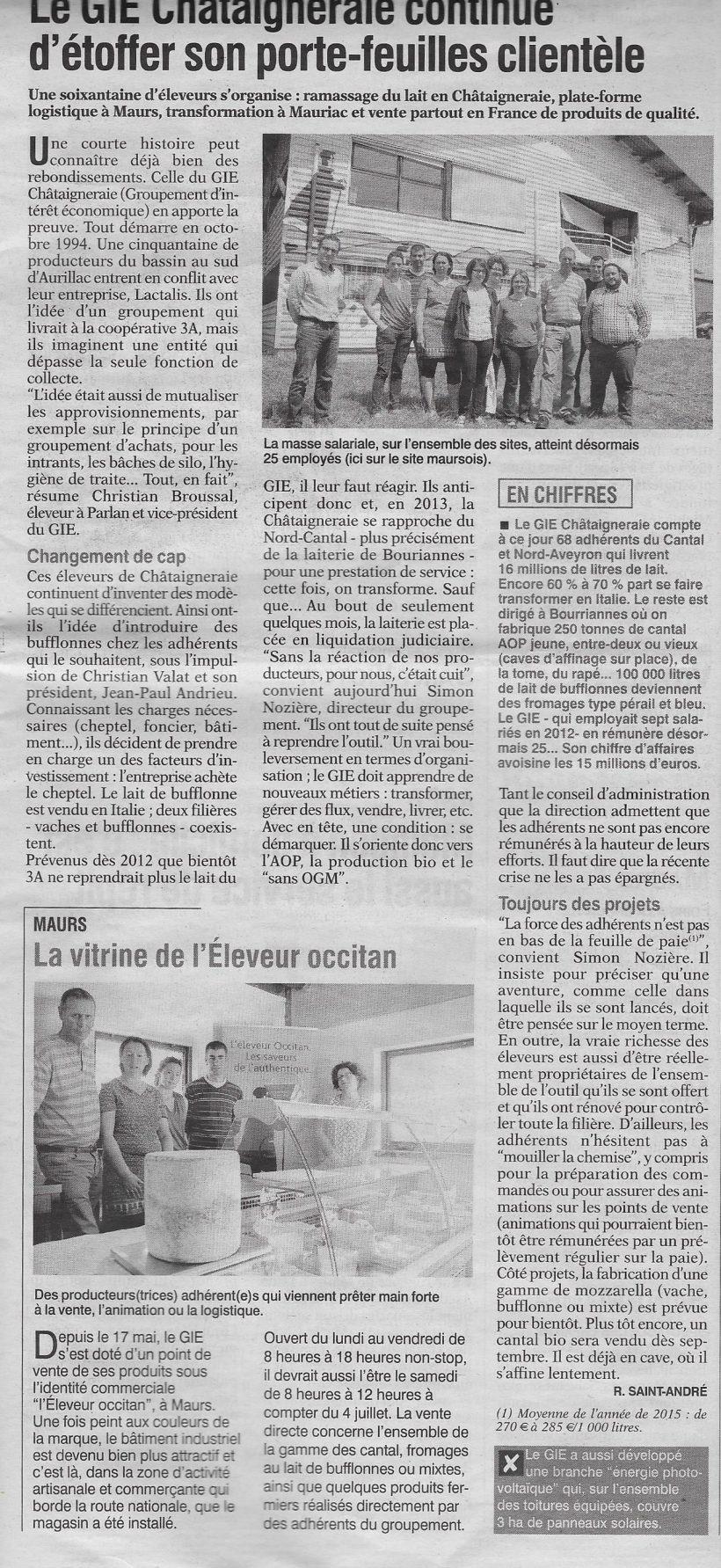 22-06-16 – L'union du Cantal – Le GIE Châtaigneraie continue d'étoffer son porte-feuilles clientèle